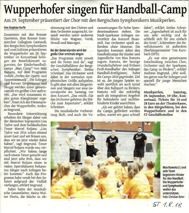 Zeitungsartikel Wupperhofer singen für Handball-Camp